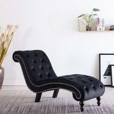 Chaise longue Noir Velours