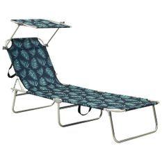 Chaise longue pliable avec auvent Acier Motif de feuilles