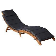 Chaise longue pliable tissu gris et acacia massif huilé Tulak