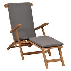 Chaise longue pliable tissu gris et teck massif clair Isser