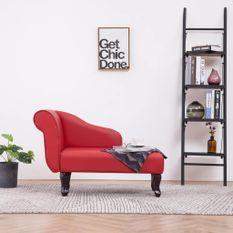 Chaise longue Rouge Similicuir