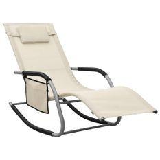 Chaise longue Textilène Crème et gris
