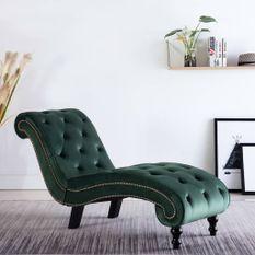 Chaise longue Velours Vert