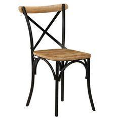 Chaise manguier massif et acier noir Tiphen - Lot de 4