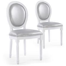 Chaise médaillon bois blanc et simili gris Louis XVI - Lot de 2