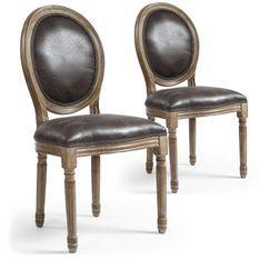 Chaise médaillon bois et simili effet vieilli Louis XVI - Lot de 2
