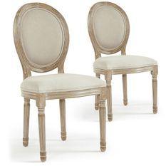 Chaise médaillon bois et tissu beige Louis XVI - Lot de 2