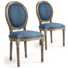 Chaise médaillon bois et tissu bleu Louis XVI - Lot de 2