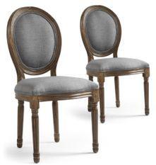 Chaise médaillon bois et tissu gris Louis XVI - Lot de 2