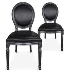 Chaise médaillon bois noir et simili noir Louis XVI - Lot de 2