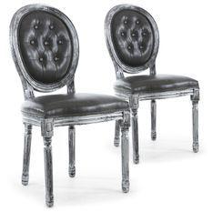 Chaise médaillon bois patiné argenté et simili capitonné gris Louis XVI - Lot de 2