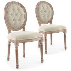 Chaise médaillon bois patiné et tissu capitonné beige Louis XVI - Lot de 2