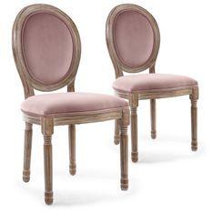 Chaise médaillon bois patiné et velours rose Louis XVI - Lot de 2