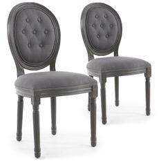 Chaise médaillon bois patiné gris et velours capitonné gris Louis XVI - Lot de 2