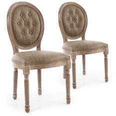 Chaise médaillon bois patiné naturel et simili capitonné taupe Louis XVI - Lot de 2