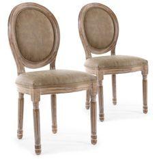 Chaise médaillon bois patiné naturel et simili taupe Louis XVI - Lot de 2