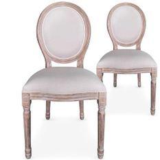 Chaise médaillon bois vieilli et tissu beige Louis XVI - Lot de 2