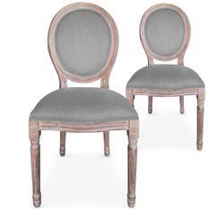 Chaise médaillon bois vieilli et tissu gris Louis XVI - Lot de 2