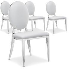 Chaise médaillon effet miroir et simili blanc Louis XVI - Lot de 4