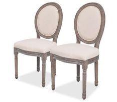 Chaise médaillon lin beige et pieds bois massif clair Makin - Lot de 2