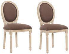 Chaise médaillon lin marron et pieds hêtre massif clair Dia - Lot de 2