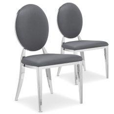 Chaise médaillon similicuir gris pieds métal Sandra - Lot de 2