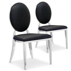 Chaise médaillon similicuir noir pieds métal Sandra - Lot de 2