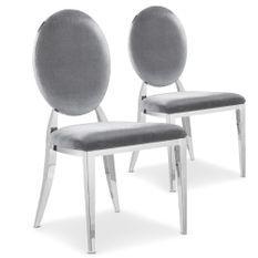 Chaise médaillon velours argent pieds métal Sandra - Lot de 2