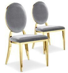Chaise médaillon velours argenté et pieds métal doré Sandra - Lot de 2