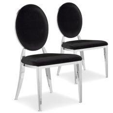 Chaise médaillon velours noir pieds métal Sandra - Lot de 2