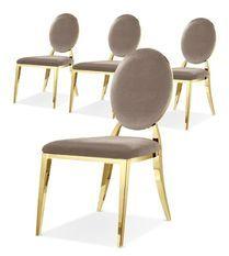 Chaise médaillon velours taupe et pieds métal doré Arel - Lot de 4