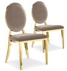 Chaise médaillon velours taupe et pieds métal doré Louis XVI - Lot de 2