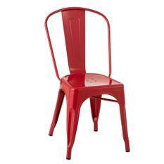 Chaise métal rouge Bothar