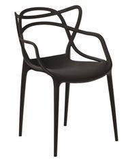 Chaise moderne avec accoudoirs polypropylène noir Beliano