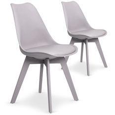Chaise moderne grise Plaza - Lot de 2
