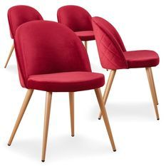 Chaise moderne velours rouge et pieds métal imitation bois Skoda - Lot de 4