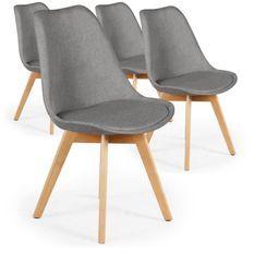 Chaise nordique Tissu Gris Kovi - Lot de 4