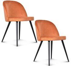 Chaise velours orange indie pieds métal noir Palace - Lot de 2