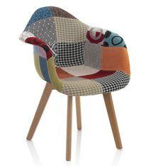 Chaise patchwork avec accoudoirs et pieds chêne clair Marai - Lot de 2
