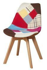 Chaise patchwork et pieds bois massif clair Bernice