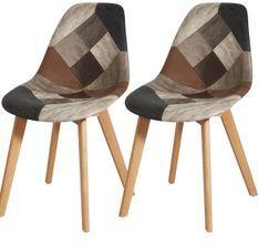 Chaise patchwork et pieds bois massif clair Choka - Lot de 2