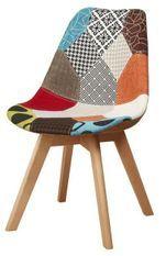 Chaise patchwork et pieds bois massif clair Marta