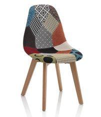 Chaise patchwork et pieds chêne clair Marai - Lot de 4