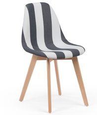 Chaise patchwork gris et blanc et pieds hêtre naturel Banki