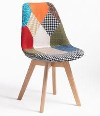 Chaise patchwork multicouleurs pieds hêtre massif clair Iles
