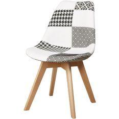 Chaise patchwork noir et blanc et pieds bois massif clair Kadra