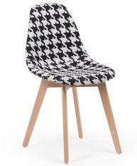 Chaise patchwork noir et blanc et pieds hêtre naturel Coki