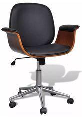 Chaise pivotante avec accoudoirs similicuir bois massif et métal chromé noir Mikanel