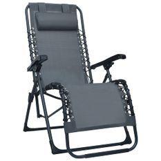 Chaise pliable de terrasse Gris Textilène