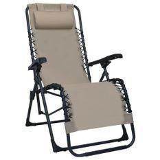 Chaise pliable de terrasse Taupe Textilène